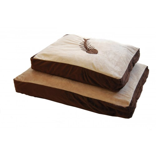 Cat Bed Fish Motif Chocolate & Cream 63.5x51cm (25×20″)