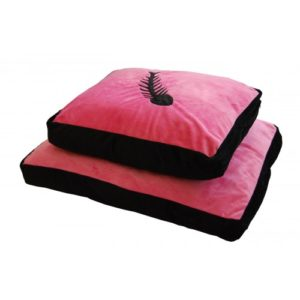 Cat Bed Fish Motif Pink & Black 63.5x51cm (25×20″)