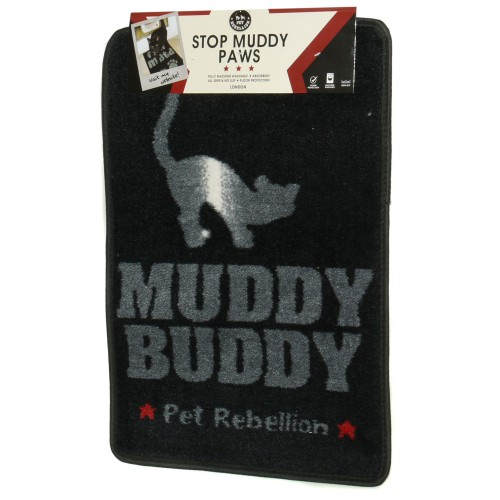 Cat Flap Mate Doormat Black 40x60cm