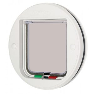 Circular Glass Fitting Cat Flap White 22.3cm Diameter