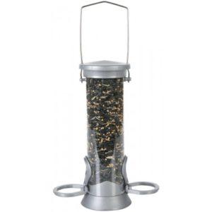 Cj Defender Metal Seed Feeder Silver 2 Port Small 20cm