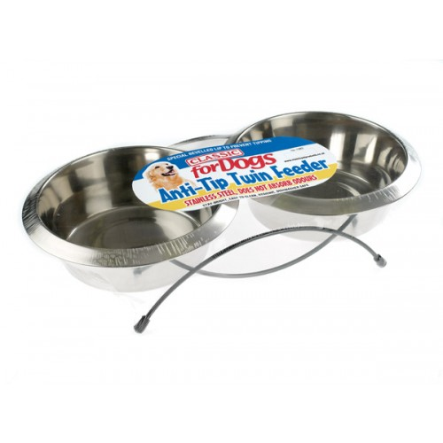 Classic Anti Tip Twin Feeder & Dishes (2x 470ml)