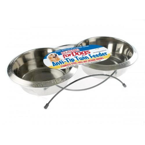 Classic Anti Tip Twin Feeder & Dishes (2x 950ml)