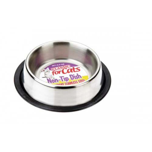 Classic Stainless Steel Non Tip Cat Dish 240ml (160mm Dia)
