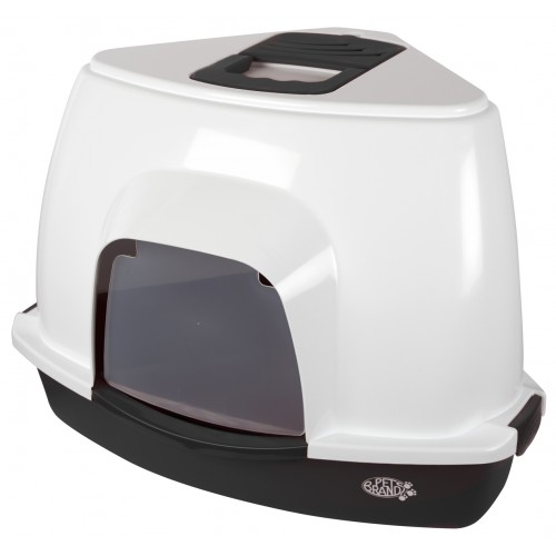 Corner Litter Tray With Hood Black