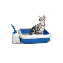 Duo Cat Litter Tray With Scoop & Holder Blue