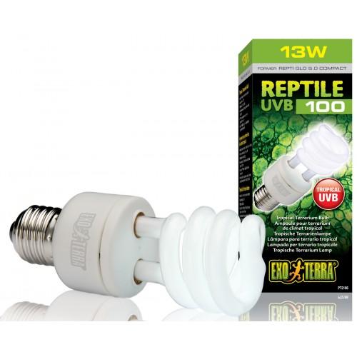 Exo Terra Reptile Uvb 100 Tropical Terrarium Fluorescent Bulb 13w