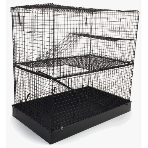 Flat Pack 3 Story Ferret/chinchilla/rat Home Black 69x43x69cm