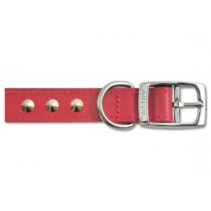 Heritage Leather Sewn/studded Collar Red 40cm/16″ Sz 3