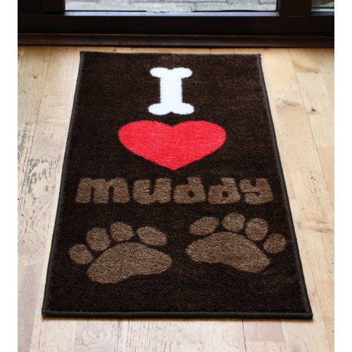 I Love Muddy Paws Door Mat 40x70cm