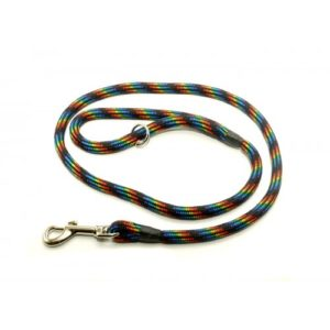 Kjk Ropeworks Braid Clip Lead With Rubber Stop Black Rainbow 8mm X 120cm