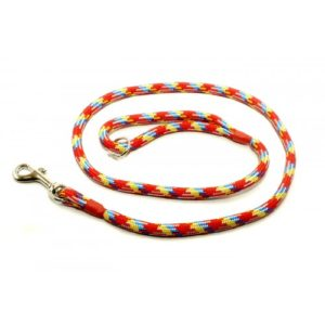 Kjk Ropeworks Braid Clip Lead With Rubber Stop Rainbow 8mm X 120cm