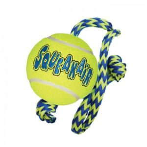 Kong Air Squeaker Tennis Ball With Rope Medium