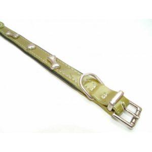 Leather Collar Green Bones 25mm X 55cm