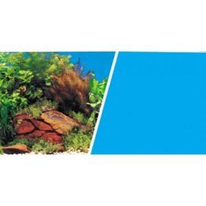 Marina Dbl Sided Background Plants & Rocks/light Blue 46cmx25ft