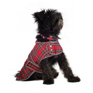 Muddy Paws Highland Tartan Coat Red Lge