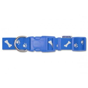 Nylon Adj Reflective Collar Paw N Bone Blue 45-70cm Sz 5-9