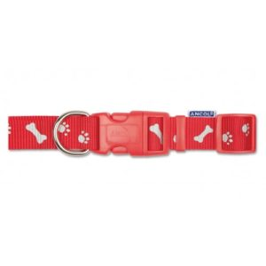 Nylon Adj Reflective Collar Paw N Bone Red 25-50cm Sz 2-5