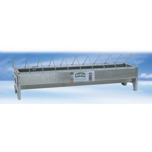 Supa Galvanised Feed Trough With Grid For Chickens 50cm