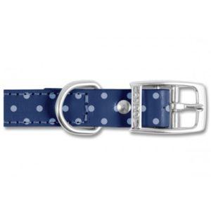 Indulgence Leather Collar Polka Dot Blue Sz 6-7 45-59cm
