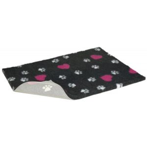 Non Slip Vetbed Charcoal With Cerise Hearts & White Paws 66x51cm (26×20″)