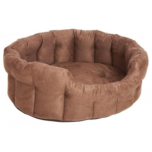 Premium Memory Foam Oval Drop Front Softee Bed Faux Suede Brown Size 5 76x64x24cm