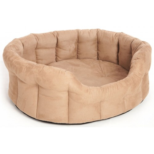 Premium Memory Foam Oval Drop Front Softee Bed Faux Suede Tan Size 4 61x51x22cm
