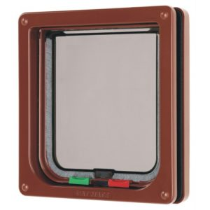 4 Way Locking Cat Flap Brown 16.5×17.4cm