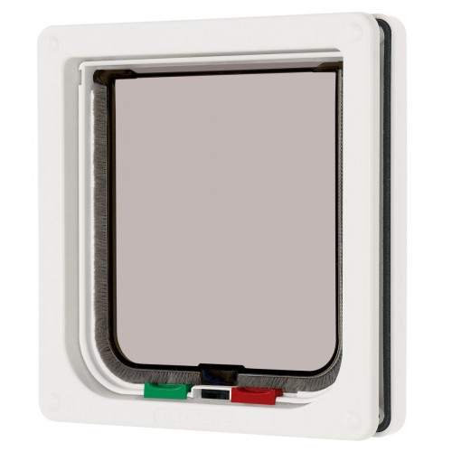 4 Way Locking Cat Flap White 16.5×17.4cm