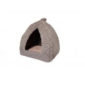 40 Winks Cat Pyramid Grey & Pink Fleece 40x40cm