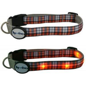 Dog E Glow Orange Plaid Collar