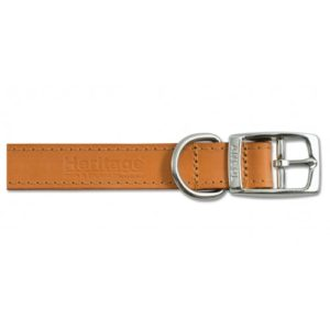Heritage Leather Sewn/half Lined Collar Tan