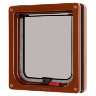 Lockable Cat Flap Brown 16.5×17.4cm
