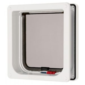Lockable Cat Flap & Liner White 16.5×17.4cm