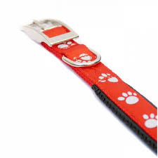 Reflective Soft Protection Nylon Collar Padded Red