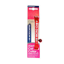 "Safety Buckle Cat Collar Alert ""i Am Micro Chipped"" Red x3"